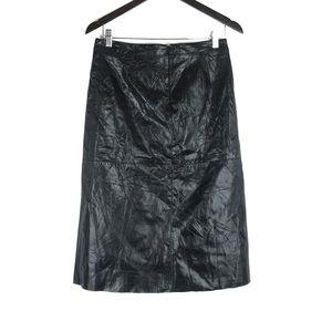 Gap Genuine Leather Midi Pencil Skirt